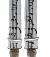 Dobrefa extra lange bretels zwart en wit notenbalk