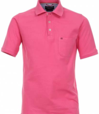 Casa Moda grote maat poloshirt uni roze met borstzakje