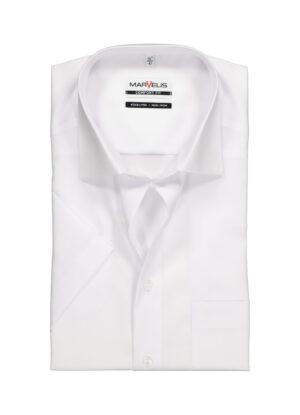 Marvelis overhemd grote maat korte mouw uni wit strijkvrij