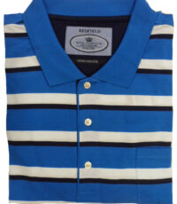 Redfield grote maat poloshirt blauw, witte breedte streep