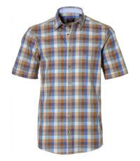 Casa Moda grote maat overhemd blauw, bruin en beige ruit