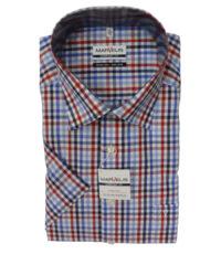 Marvelis overhemd grote maat blauw, rood en wit ruitje strijkvrij