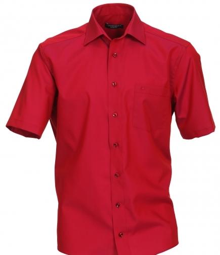Casa Moda grote maat overhemd korte mouw uni rood strijkvrij