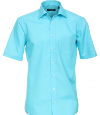 Casa Moda grote maat overhemd korte mouw uni turquoise strijkvrij