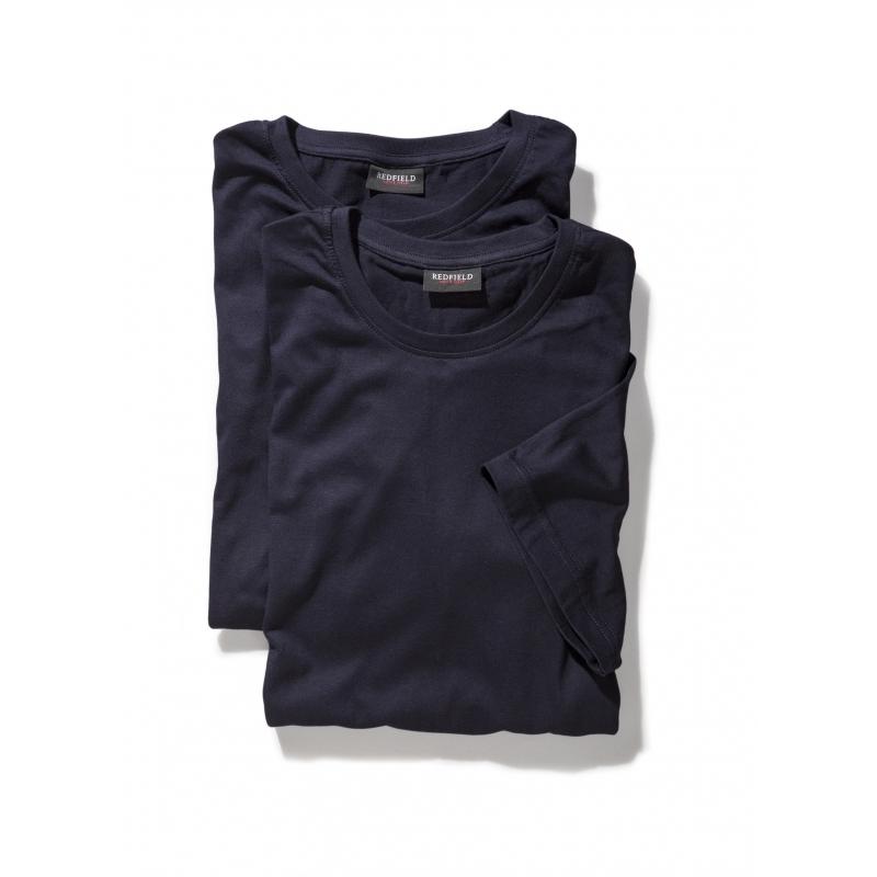 Grote maat t-shirts navy in korte mouw en ronde hals