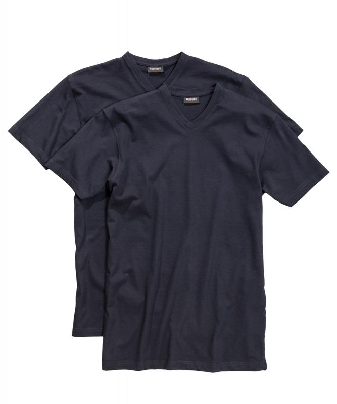Redfield grote maat t-shirt navy korte mouw v-hals