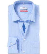 Marvelis grote maat overhemd uni lichtblauw 100% katoen strijkvrij