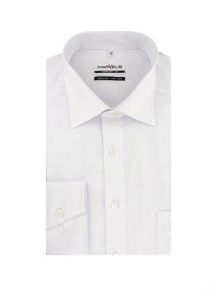 Marvelis grote maat overhemd uni wit 100% katoen strijkvrij