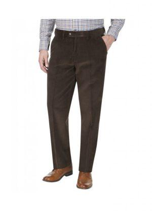 Skopes grote maat stretch corduroy pantalon bruin u-band