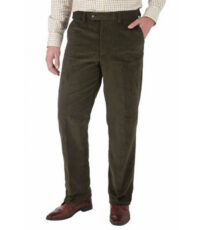 Skopes grote maat stretch corduroy pantalon groen u-band