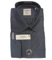 Grote maat Casa Moda lange mouw overhemd antraciet lengtestreepje strijkvrij