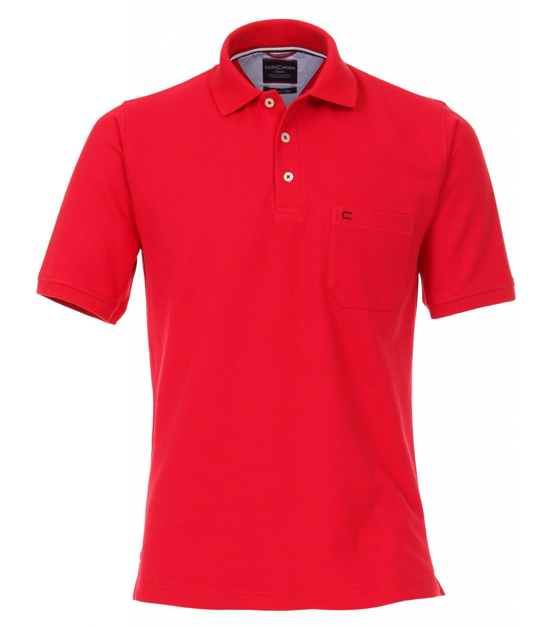 Casa Moda grote maat poloshirt uni rood met borstzakje