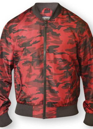 D555 grote maat camouflage bomber jack rood