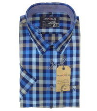 Grote maat Marvelis overhemd blauw en bruine ruit button down