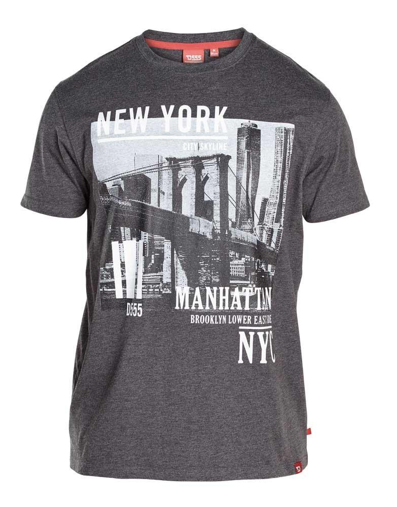 D555 t-shirt grote maat grijs New York