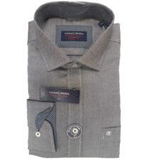 Grote maat Casa Moda overhemd lange mouw antraciet gemeleerd strijkvrij