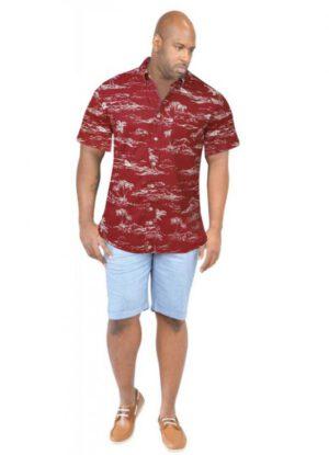 D555 grote maat Hawaii overhemd korte mouw rood