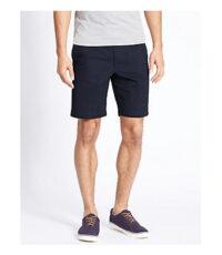 M.e.n.s. grote maat stretch korte broek donkerblauw inclusief riem