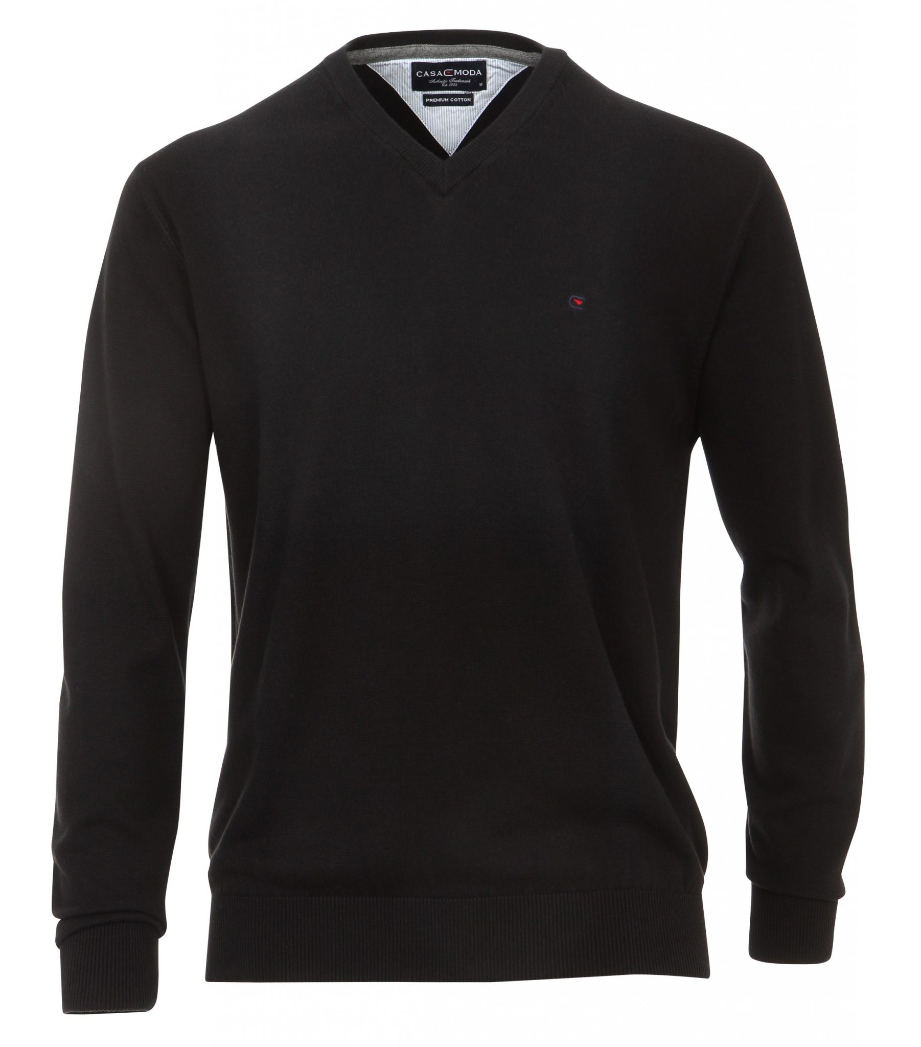 Casa Moda extra lange mouw 72cm v-hals trui zwart