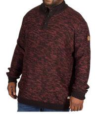 D555 grote maat trui zwart en rood gemeleerd