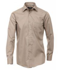 Casa Moda grote maat overhemd lange mouw uni lichtbeige strijkvrij