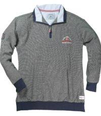 Grote maat sweater blauw gemeleerd polokraag rits Redfield