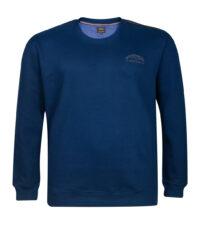 Kitaro grote maat sweater ronde hals lange mouw blauw