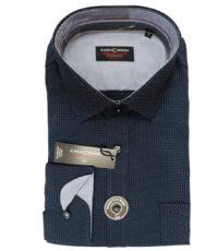Casa Moda grote maat overhemd blauw met wit stipje