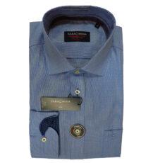 Casa Moda overhemd extra lange mouw blauw fijn motief geweven