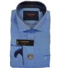 Casa Moda overhemd mouwlengte7 blauw met ingeweven werkje strijkvrij