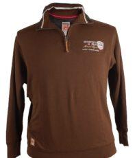 Redfield grote maat sweater polokraag rits bruin
