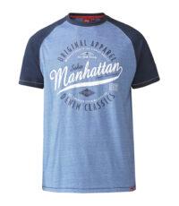 D555 grote maat t-shirt blauw Manhatttan