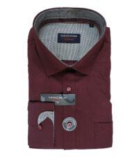 Casa Moda overhemd extra lange mouw 72cm bordeauxrood stipje
