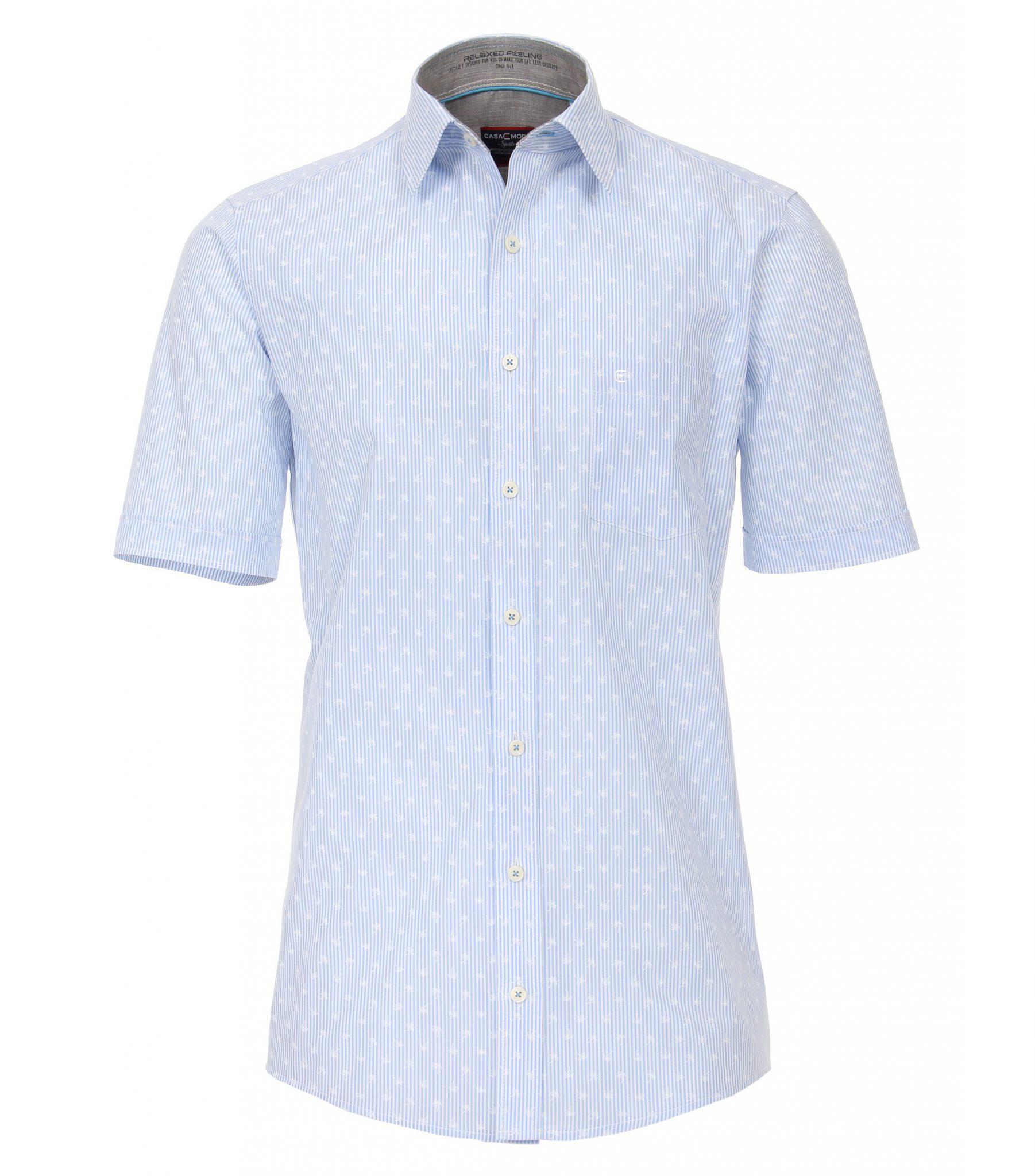 Casa Moda grote maat overhemd blauw en witte lengte streep