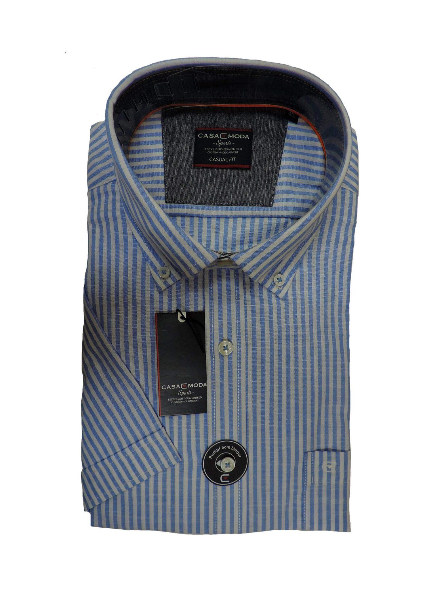 Wit Linnen Overhemd Korte Mouw.Grote Maat Casa Moda Overhemd Blauw En Wit Linnen Look