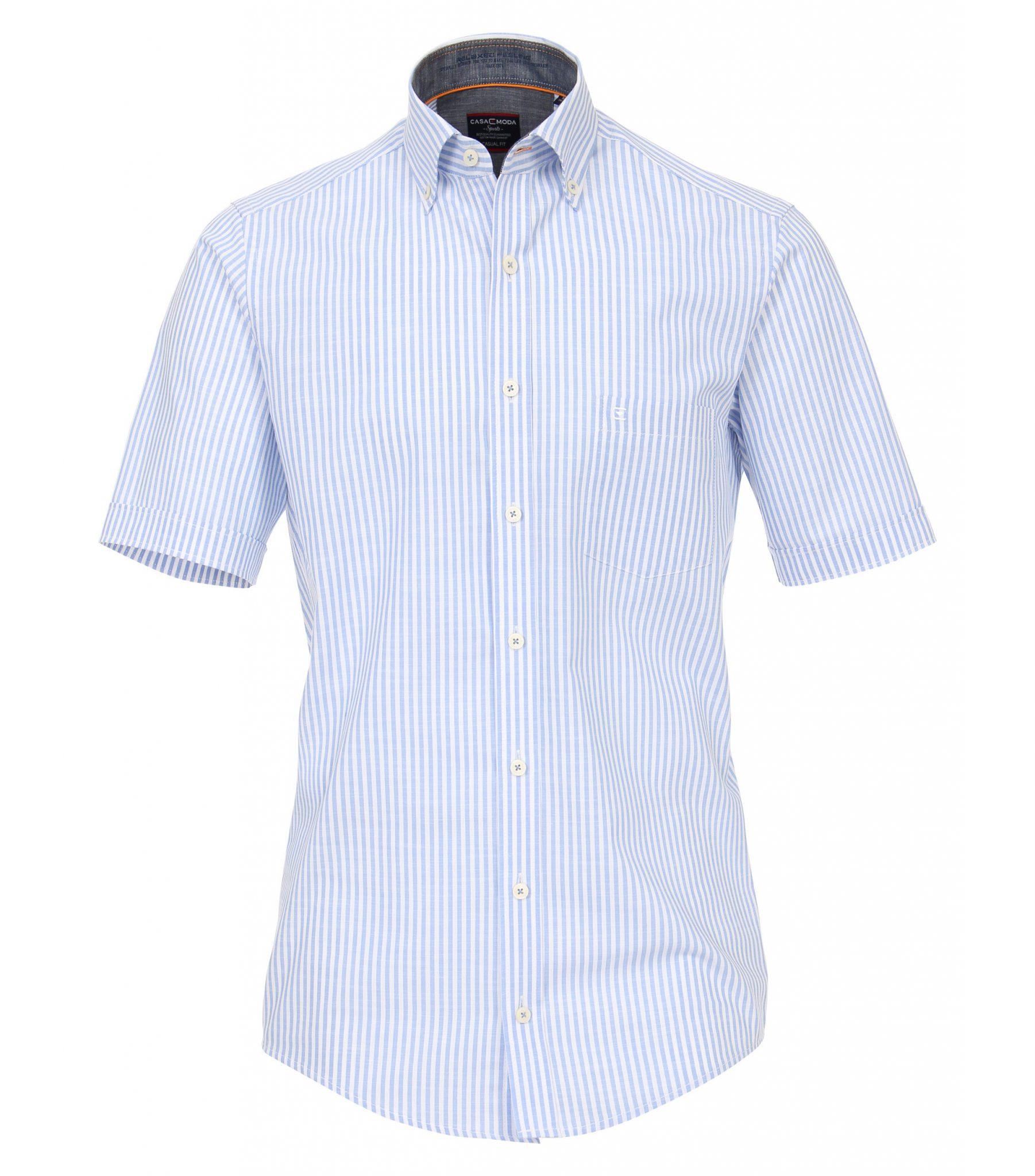 Grote maat Casa Moda overhemd blauw en wit linnen look