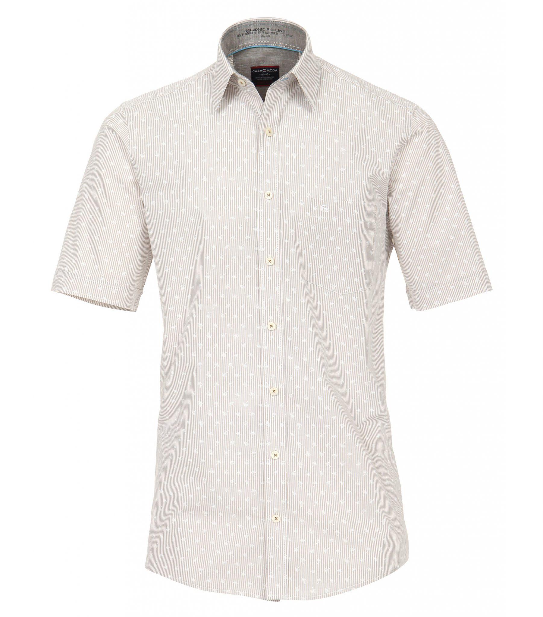 Grote maat Casa Moda overhemd beige en wit fantasie printje