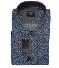 Casa Moda grote maat overhemd blauw en camel fantasie print