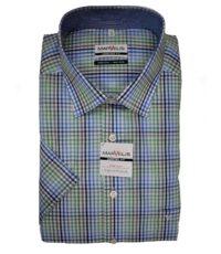 Marvelis grote maat overhemd blauw, groen en wit ruitje strijkvrij