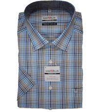 Marvelis grote maat overhemd blauw, beige en wit ruitje strijkvrij