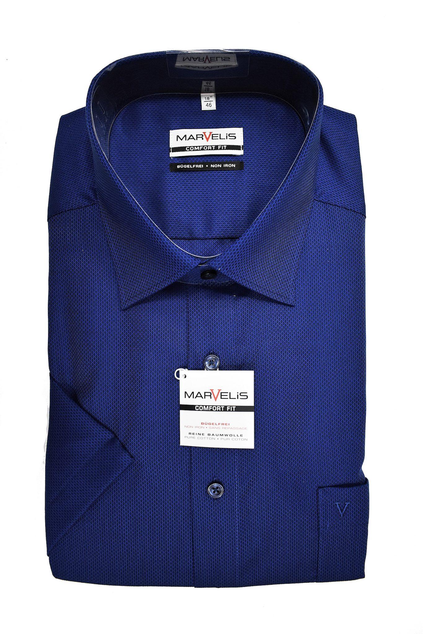 Marvelis grote maat overhemd korte mouw blauw werkje strijkvrij