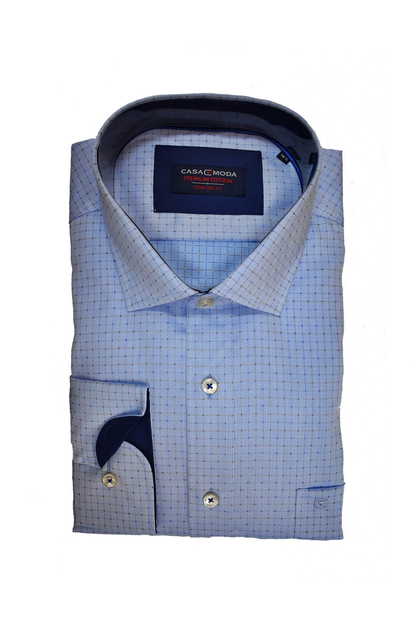 Maat 44 Overhemd.Casa Moda Grote Maat Overhemd Lange Mouw Lichtblauw Ruitje Strijkvrij