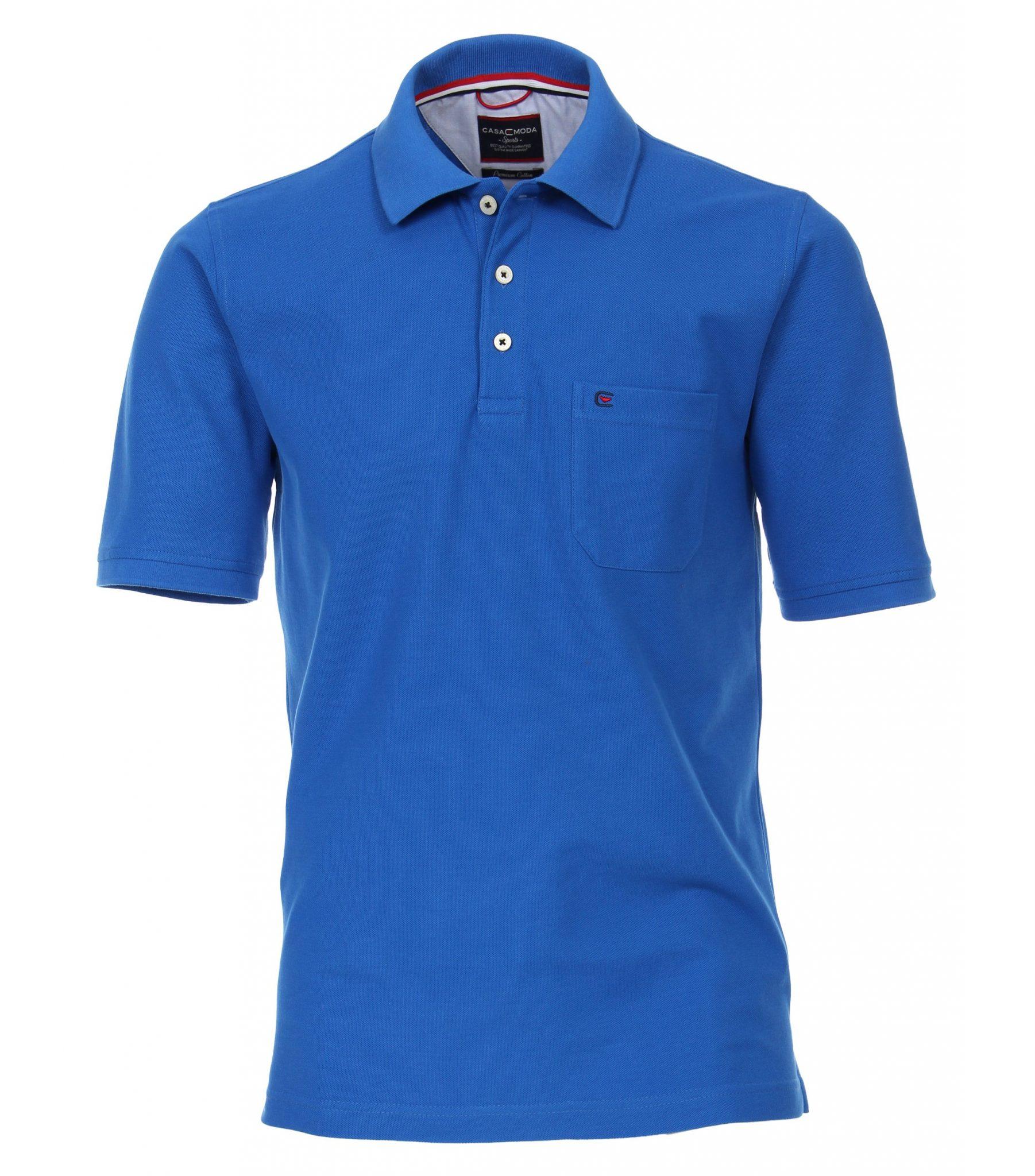 Casa Moda grote maat poloshirt uni blauw met borstzakje