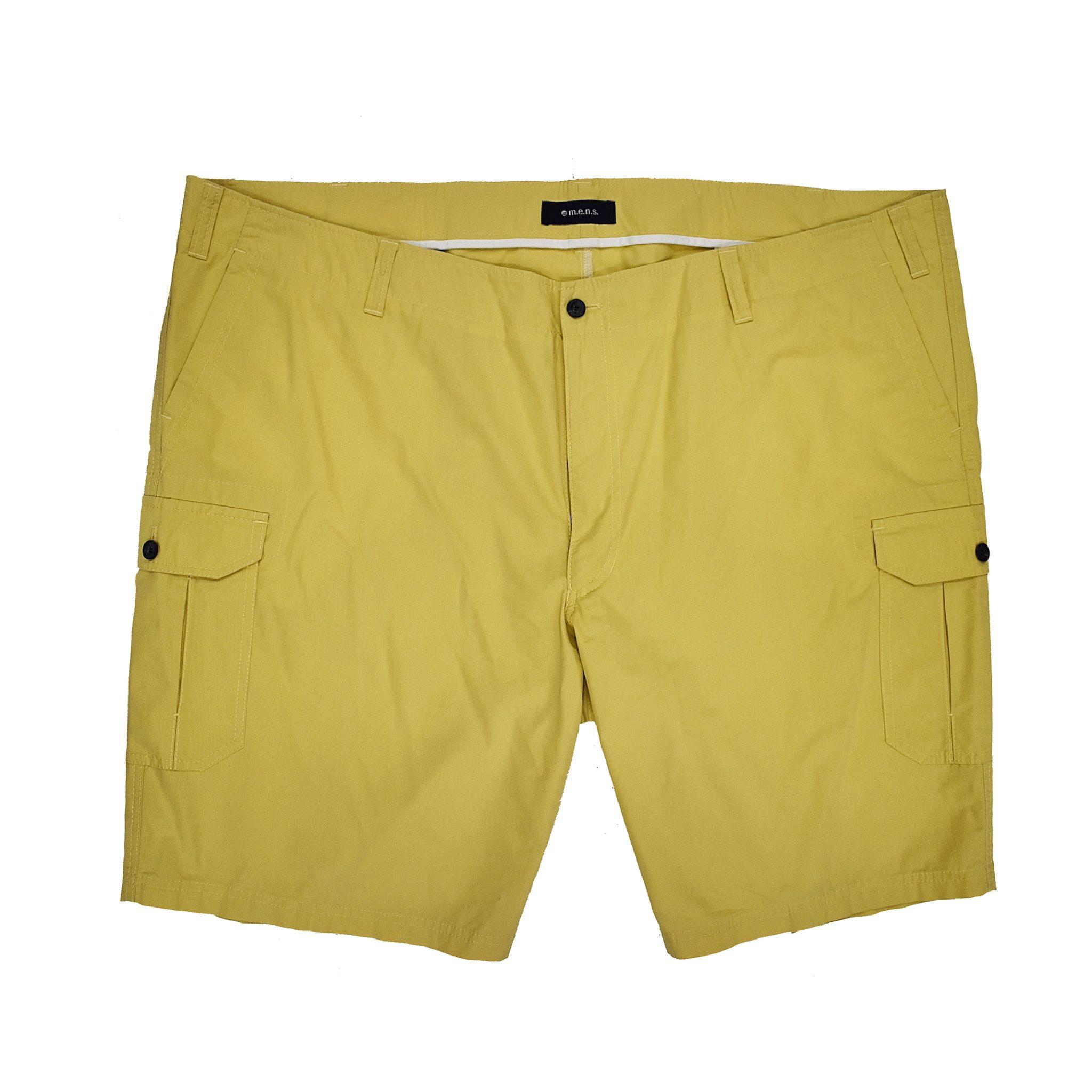 Grote maat stretch korte broek in de kleur geel