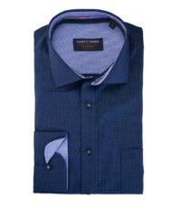 Casa Moda overhemd extra lange mouw donkerblauw stipje