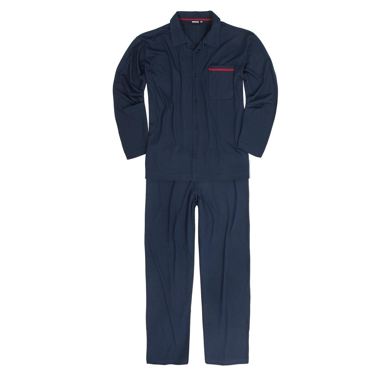 Adamo grote maat pyjama knoopsluiting donkerblauw
