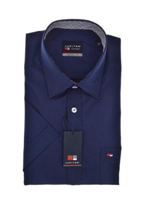 Grote maat overhemd korte mouw uni donkerblauw