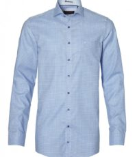 Casa Moda overhemd extra lange mouw blauw en wit ruitje