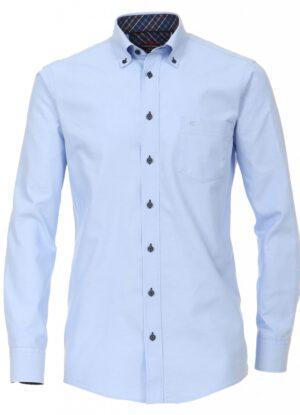 Casa Moda overhemd extra lange mouw blauw button down strijkvrij