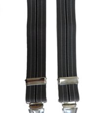 Dobrefa extra lange bretels grijs en zwarte lengte streep